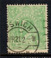 """Australia  1914   """"1/2d  Pale Bluish-Green""""   VARIETY    VFU   (0)"""