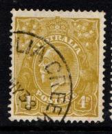 """Australia    1931   """"4d Olive KGV  CofA Wmk""""    VFU   (0)"""