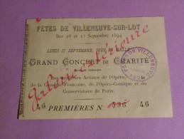 FETES DE VILLENEUVE SUR LOT DES 16 ET 17 SEPTEMBRE 1894 - Tickets D'entrée