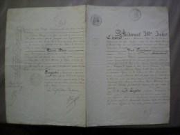 14 JUILLET 1862 VICTOR DU SART BARON DE MOLEMBAIX A BELLIGNIES NORD ACTE ECHANGE DE TERRES CACHETS FISCAUX - Manuscrits