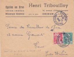 ESC 05-10-1948 Affr Gandon 721A+807-Obl Chinon -Indre-et-Loire)-En-tête Cycles Henri Tribouilloy - Postmark Collection (Covers)