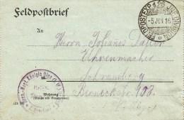 TàD FELDPOSTEXP. D. 26. INF. DIVISION Du 5 JUN 16 Sur Feldpostbrief - Postmark Collection (Covers)