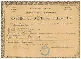 CERTIFICAT  D'ETUDES  PRIMAIRES   ELEVE  DE  VILLEREAU   (NORD)  1898 - Diplômes & Bulletins Scolaires
