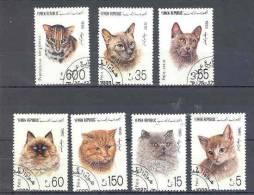 Chats Gatos Cats Katze  Série Complète  Oblitérée   Ref 91 Yemen - Domestic Cats