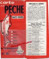 87 - CARTE DE LA PECHE HAUTE VIENNE - 1964- RARE- LES ETANGS- ET COURS D'EAU - Cartes