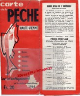 87 - CARTE DE LA PECHE HAUTE VIENNE - 1964- RARE- LES ETANGS- ET COURS D'EAU - Mapas