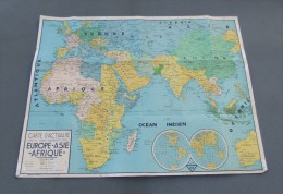 Carte Scolaire Toilée Europe - Asie - Afrique - Éditions Edé à Lille - Cartes Géographiques