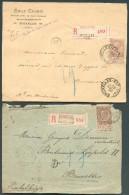 N°61(2) - 35 Centimes Brun - 2 Exemplaires Sur 2 Documents Recommandés De BRUXELLES-EST Et Saint-JOSSE-ten-NOODE (1895 E - 1893-1800 Fijne Baard