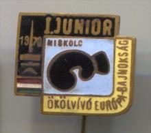 BOXING - BOX RING, Hungary, Miskolc, 1970., Junior European Championship, Vintage Pin, Badge, Enamel - Boxing