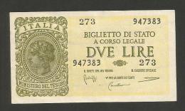 ITALIA - 2 LIRE ITALIA LAUREATA - (Firme: Bolaffi / Cavallaro / Giovinco - Decr. 23/11/1944) LUOGOTENENZA - [ 1] …-1946 : Regno