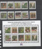 ZIMBABWE , 2015, MNH, DEFINITIVES, VICTORIA FALLS, WATERFALLS, TRAINS, BRIDGES, ELEPHANTS, TREES, MASKS, 12v+SHEETLET