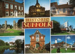 Postcard - Historic Suffolk (Lighthouse/Windmill/Abbey), Suffolk. 2-31-00-05