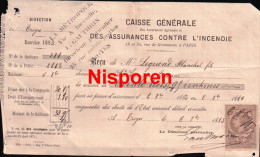Reçu D'assurance -  Legrand Blanchet Fils Saint-Leger-sous-Brienne - Exercice 1883 - Banque & Assurance