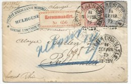 B625 - Einschreiben MULHAUSEN - Rekozettel Weite Schlingen - 1872 - Hufeisenstempel - Fer à Cheval MULHOUSE - - Deutschland