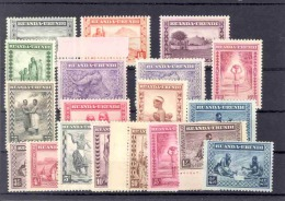 RUANDA-URUNDI 1931 ISSUE ETHNIC SETS COB 92/106 +  111/13 MNH SANS CHARNIERE
