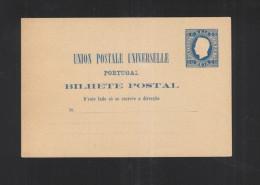 Portugal Stationery 20 Reis Blue Unused - Postal Stationery