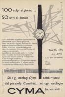 # CYMA TAVANNES SUISSE HORLOGERIE 1950s  Italy Advert Publicitè Reklame Orologio Montre Uhr Reloj Relojo Watch - Montres Publicitaires