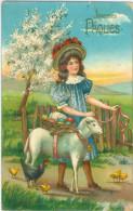 Relief - Gaufrée - Embossed - Prage - Fille Et Mouton - Bon état - Pâques