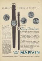 # MARVIN LA CHAUX DE FONDS SUISSE HORLOGERIE 1950s Italy Advert Publicitè Reklame Orologio Montre Uhr Reloj Relojo Watch - Orologi Pubblicitari