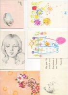 Faire-part Naissance. Illustrateur. Enfant & Bébé. Lot De 6  Faire-parts. Années 1960-70 - Birth & Baptism