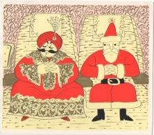 Carte Double Publicité. Illustrateur. Aviation. Air India. Santa Claus & Maharadjah. Christmas & New Year 1971. - Publicités