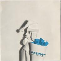 Carte Double Publicité. Photo Montage. Olympic  Airways. Santa Claus & Ticket Fleuri. Season's Greetings. - Publicités