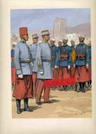 TIRAILLEURS MAROCAINS INDIGENE LIEUTENANT FRANCAIS SOUS OFFICIER PORTE FANION MAROC GRAVURE DE MAURICE TOUSSAINT - Uniforms