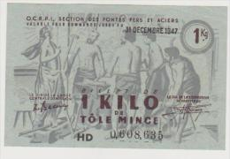 1 KILO DE TOLE MINCE DU 31/12/47 . N° 0608635 - Notgeld