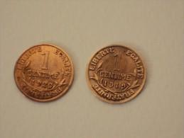 1 CENTIME -DUPUIS -ANNEES 1919 ET 1920  -III E REPUBLIQUE -PIECES TTB - Francia