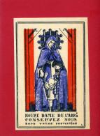 IMAGE PIEUSE PATRIOTIQUE 1940 NOTRE DAME DE L ABRI DEFENSE PASSIVE DESSIN DE GABRIEL LOIRE VERRIER A CHARTRES VITRAIL - Documents