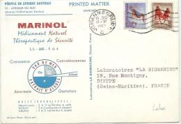 LBL33/B - AFRIQUE DU SUD SUR CP PUBLICITAIRE MARINOL JOHANNESBURG / DIEPPE 1963 - Afrique Du Sud (1961-...)