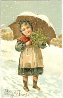 Gaufrée - Relief - Embossed - Prage - Fille Sous Neige - TBE - Bambini