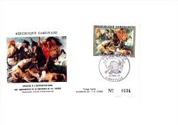 FDC 400éme Anniversaire De La Naissance De Rubens (Chasse à L'hippopotame) - Libreville 24 Novembre 1977 - N° 134/2000 - Gabon (1960-...)