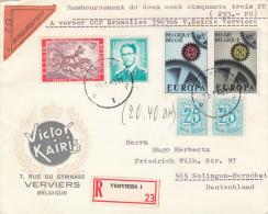 BELGIEN 1968 - 6 Fach Frankierung + Vignette Auf R-Brief Zollamtlich Abgefertigt, Gel.v.Verviers Nach Solingen-Merscheid - Briefe U. Dokumente