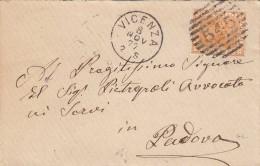 ITALIEN 1877 - Schöne Frankierung (2,5 Cent Orange) Und Sauberer Stempel Auf Kleinen Brief Gel.v.Vicenza Nach Padova - 1861-78 Victor Emmanuel II.