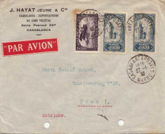 MAROKKO 1915 - 3 Sondermarken Auf LP-Brief V.Casablanca Nach Wien - Morocco (1891-1956)