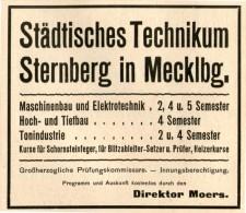 Original-Werbung/ Anzeige 1910 - STÄDTISCHES TECHNIKUM STERNBERG IN MECKLENBURG  - Ca.  90 X 75 Mm - Werbung