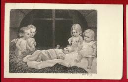 EZF1-06 4 Petits Anges Au Chevet De L'Enfant Jésus.  Cachet 1926. - Anges