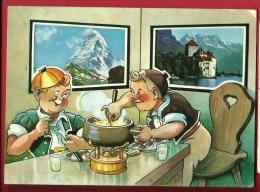 EZF1-09  Série Minouvis, Armaillis Mangeant La Fondue, Caquelon, Avec Vue Cervin Matterhorn Et Chateau Chillon. - Sin Clasificación