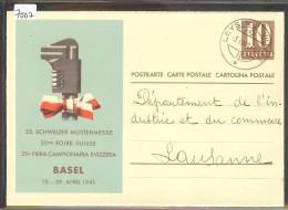 GRÖSSE 10x15 - BASEL - 25. MUSTERMESSE 1941 - GANZSACHE - ENTIER POSTAL - TB - BS Basle-Town