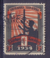SOUTH AFRICA/SUID-AFRIKA:1934: Vignette/Cinderella- Travelled : CHRISTMAS,NOËL, BIENFAISANCE,CHARITY,HEALTH,T.B.C.,SUN - Christmas