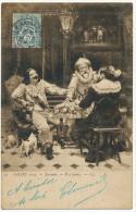 Il A Perdu Par Alfred Vigny Jacomin Jeu De Cartes Salon 1905 Lampe Chien Ratier Mousquetaire - Playing Cards