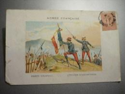 Armée Française Porte Drapeau Et Officier D'Infanterie - Régiments