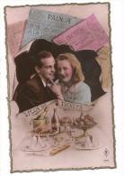 """CPA - COUPLE - ENTOURE DE TICKETS DE RATIONNEMENT- """"PLUS DE TICKETS - ILLUSTR. ABONDANCE DE NOURRITURE - 1939-45"""