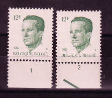BELGIQUE COB 2113 ** AVEC NR PLANCHE 1/2, GOMME BLANCHE. (4TJ15) - 1981-1990 Velghe