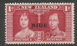 Niue - 1937 Coronation Overprint 1d MNH **  Sc 70 - Niue
