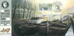 068 Carte Officielle Exposition Internationale Exhibition Genève 1990 France FDC Canal Briare Bateau Ship Boat Pont - Esposizioni Filateliche
