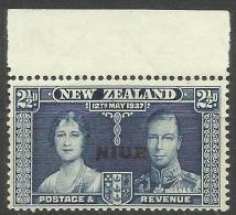 Niue - 1937 Coronation Overprint W/margin 2.5d MNH **  Sc 71 - Niue