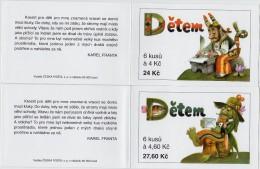 2 Carnets De 6 Timbres + 4 Coupons YT C 180 181 Pour Les Enfants 1998 / Booklet Michel MH 59 60 (187/188) - Czech Republic