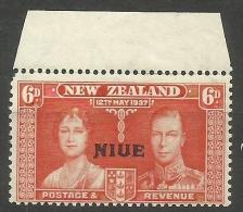 Niue - 1937 Coronation Overprint W/margin 6d MNH **  Sc 72 - Niue